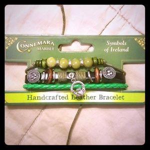 Jewelry - New! Irish Connemara Marble Leather Bracelet